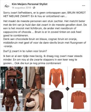 Bruin, het nieuwe zwart post Kim Meijers Personal Stylist